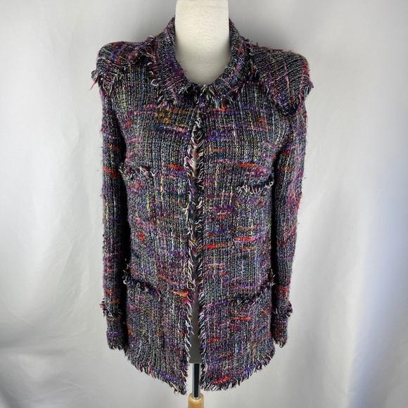 Chanel Rainbow tweed long fringe trim jacket